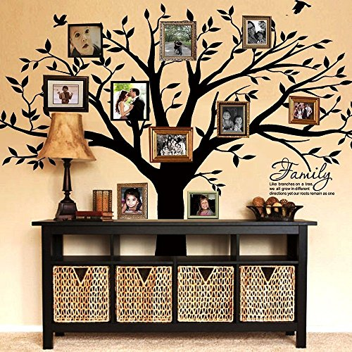 MAFENT Family Tree Wall Decal Quote- Family Like Branches On A Tree Lettering Tree Wall Sticker for Bedroom Decoration (Black) -
