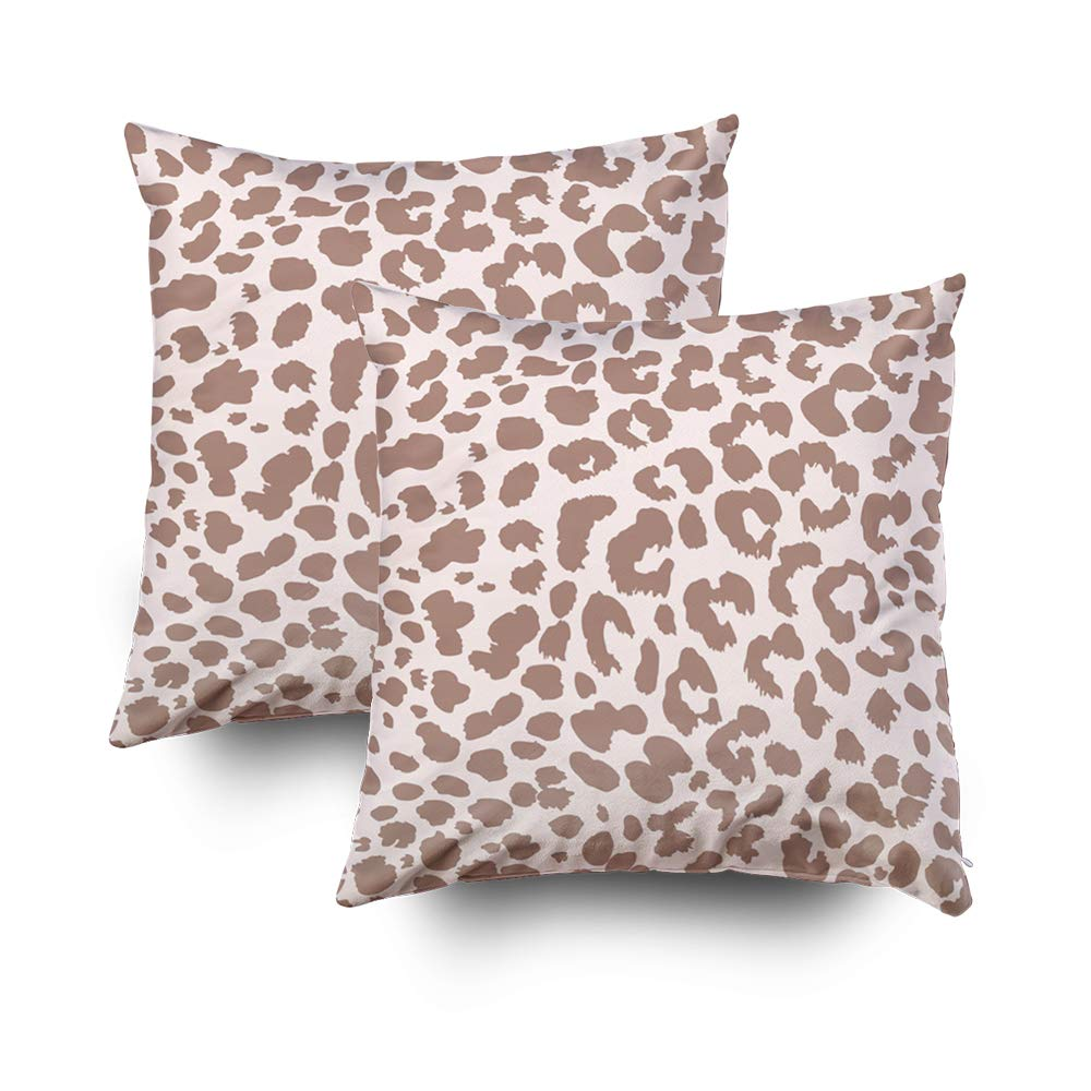 GROOTEY Decorative Cotton Square Set of 2 Pillow Case Covers Zippered Closing Home Sofa Decor Size 16X16Inch Costom Pillowcse Throw Cover Cushion,animal pattern textile design