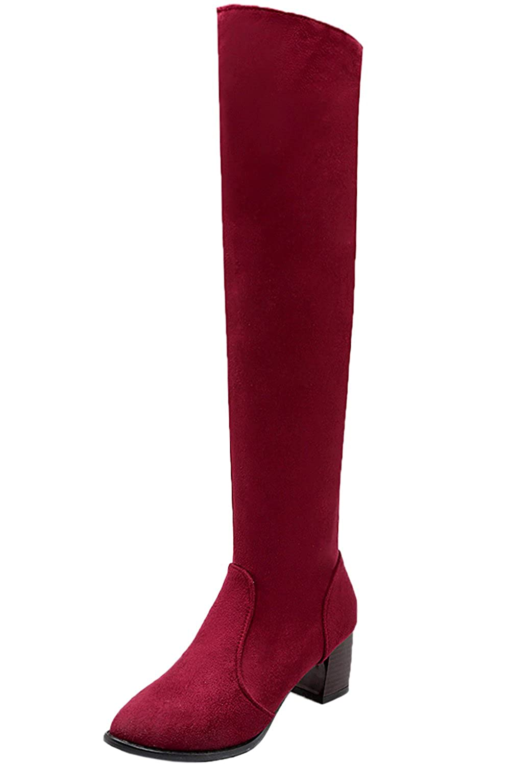 4dd6f783a Amazon.com | Over Knee Boots Fall Winter Women Faux Suede Casual Chunky  Long Boots by Bigtree | Over-the-Knee