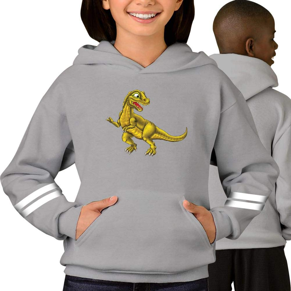 Fbotgh Printed Tyrannosaurus Striped Long Sleeve Hooded Sweatshirt with Pockets for Boys for Girl