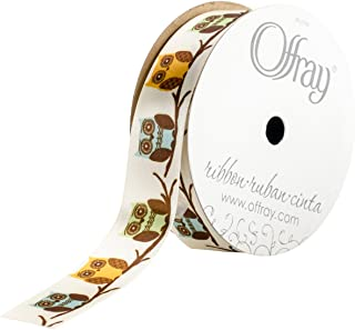 product image for Offray, Cream Owls Craft Ribbon, 7/8-Inch x 9-Feet