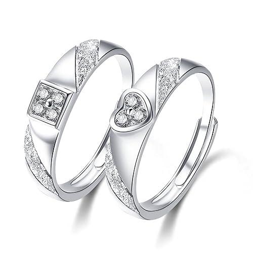 Minalo de plata de ley ajustable de los anillos de boda anillos de compromiso con piedra