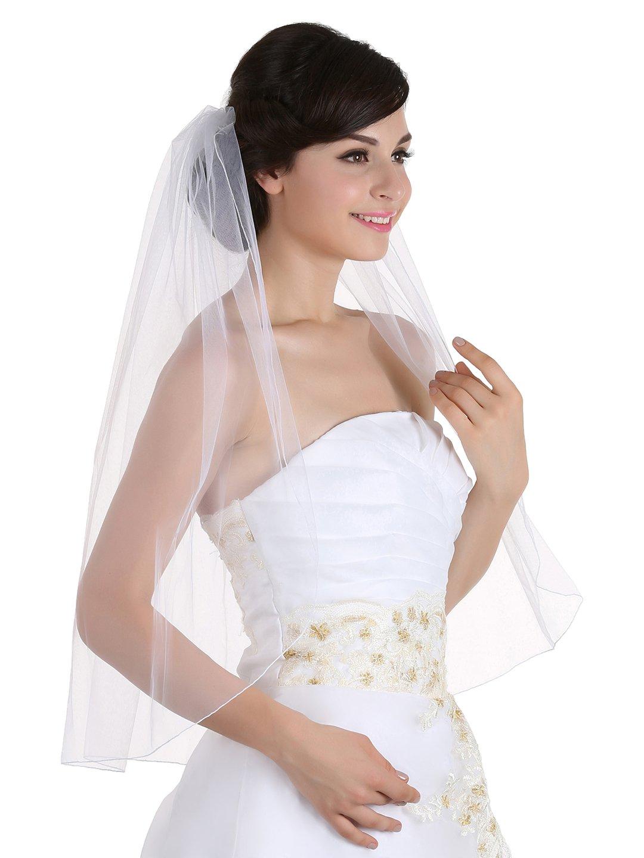 1T 1 Tier Pencil Edge Bridal Wedding Veil - Ivory Elbow Length 30'' by SAMKY