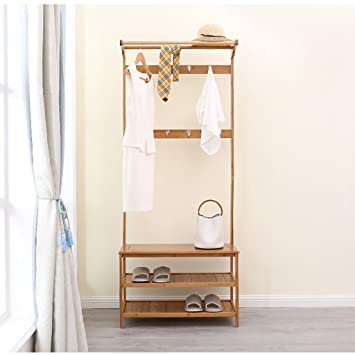 Amazon.com: Wall CR Coat Racks clothes stand bamboo bedroom ...