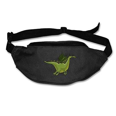 Cartoon Green Dinosaur Running Belt Adjustable Navy Waist Fanny Pack Bum Bag Hiking Fitness Runners Waist Bag For Men Women
