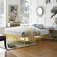 Modway Horizon Full Bed Frame in Yellow - Replaces Box Spring - Folding Portable Metal Mattress Bed Frame with Storage - Low Profile - Heavy Duty