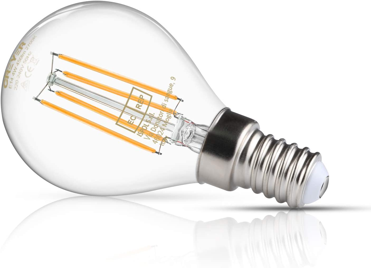 AC 220V-240V Warm White Equivalent to 40W Incandescent Bulbs CRI/≥95+ E14 Screw Base LED Glass Bulbs Pack of 5 450Lumens Creyer E14 G45 LED Filament Bulbs 2700K Non-Dimmable