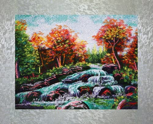 PEA Designs, Cascading Waterfall Wall D cor, Chinese Su Embroidery Pattern, Timeless Wall Hanging Artwork, Elegant Needlepoint Tapestry, Traditional Wall Art for Room Decoration, Unique Housewarming Gift Idea, 18-47 64 x 15-13 64