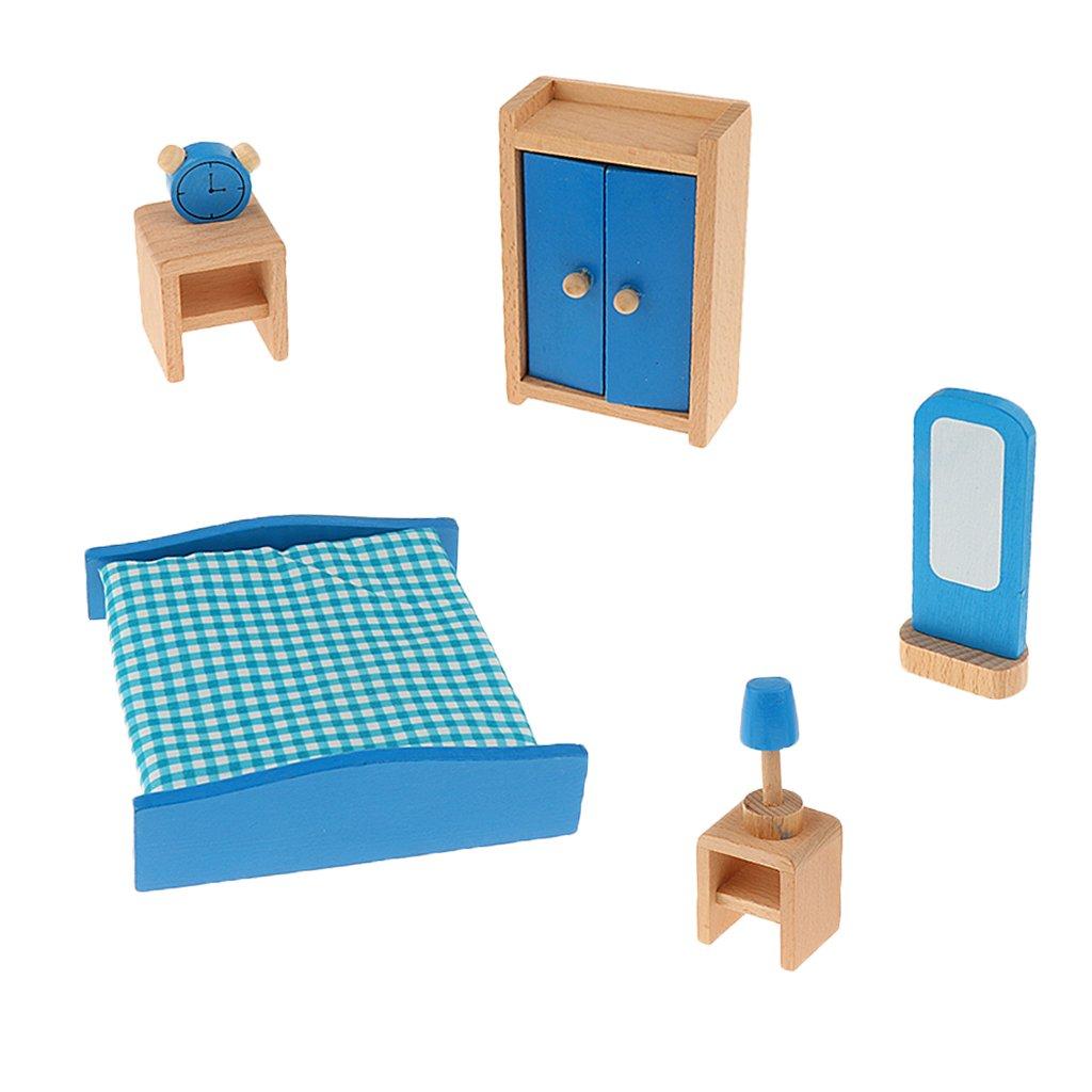 MagiDeal Conjunto de Muebles de Madera en Miniaturas Accesorios de Casa de Muñecas Niños Juguetes - Cocina