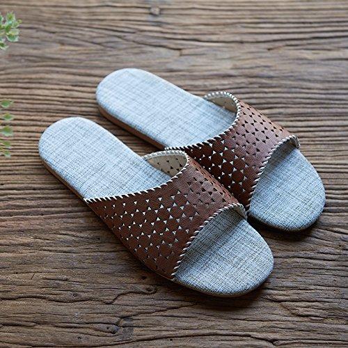 slippers Brown 41 floor lovers slippers Linen home indoor 40 qAz8nwX