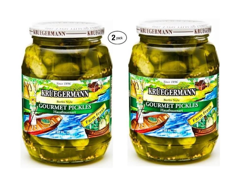 SHIPS FREE Get 2 (32 fl.oz) Jars Kruegermann Gourmet Pickles Hausfrauenart Style (64 fl.oz total)