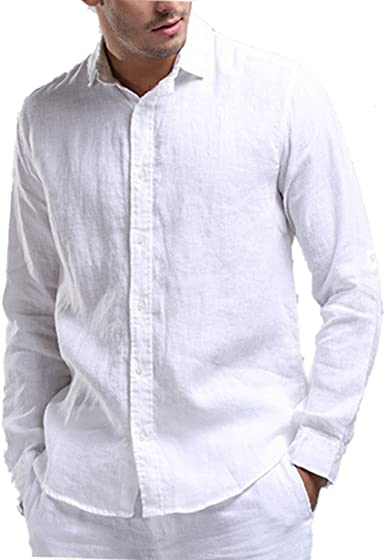 Najia Symbol Chemise Casual 100% Lin Col Classique Manches Longues Homme 320
