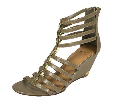 Women's Kaylin Open Toe Middle Metal Gold Bracket Gladiator Heel Ankle Sandal Khaki Leatherette