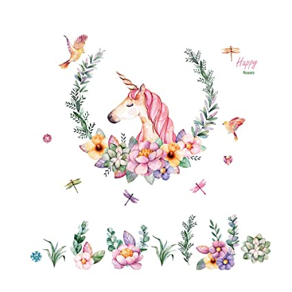 Amazon.com: Unicorn Wall Decals Girls Bedroom Wall Stickers Nursery ...