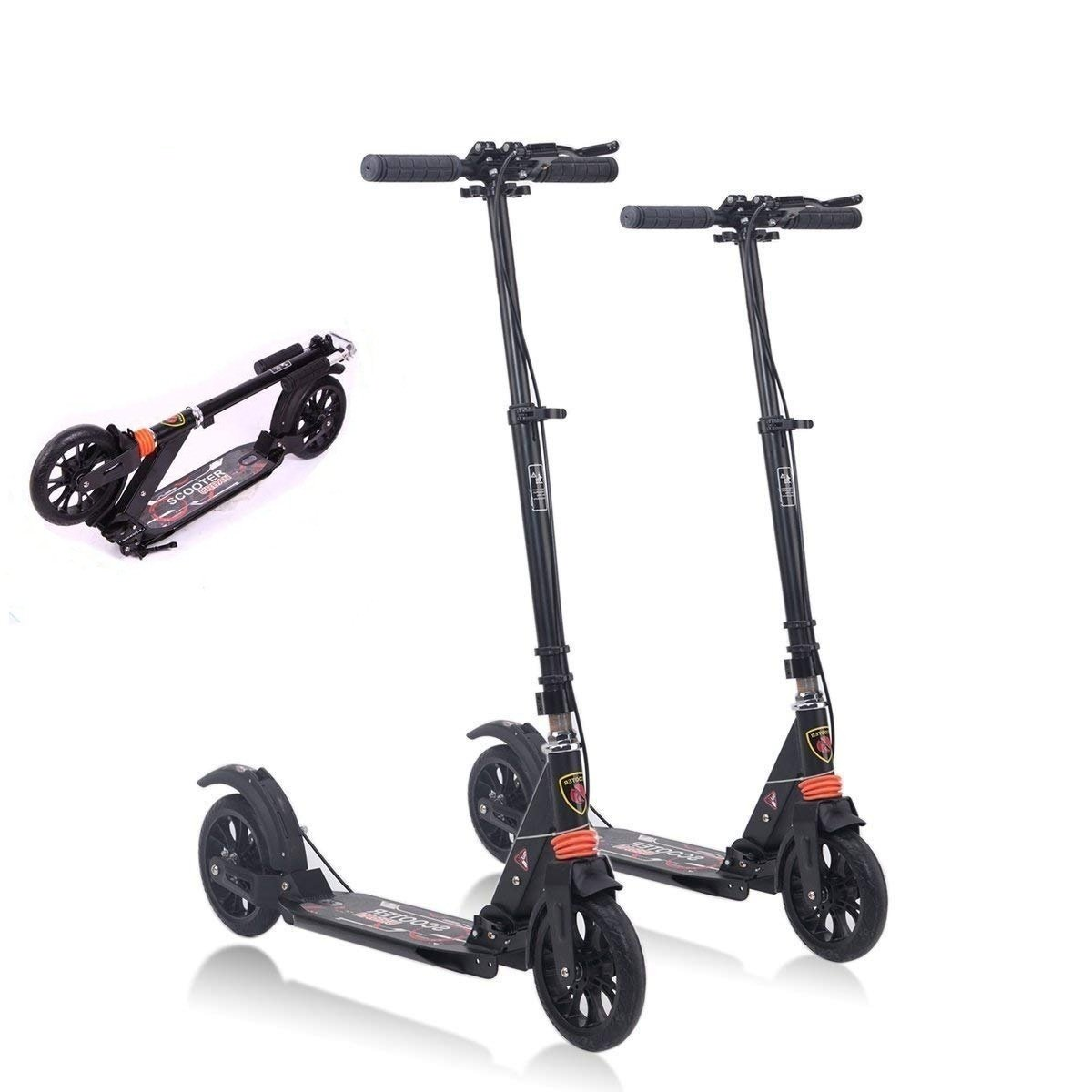 MONODEAL Adjustable Height Scooter, 2 Wheel Teen/Adult Kick Scooter with Aluminum Alloy Frame, Front & Rear Spring Shock-Absorbing System, Easy-Folding, Adjustable T Handlebar - 220lb Weight Limit