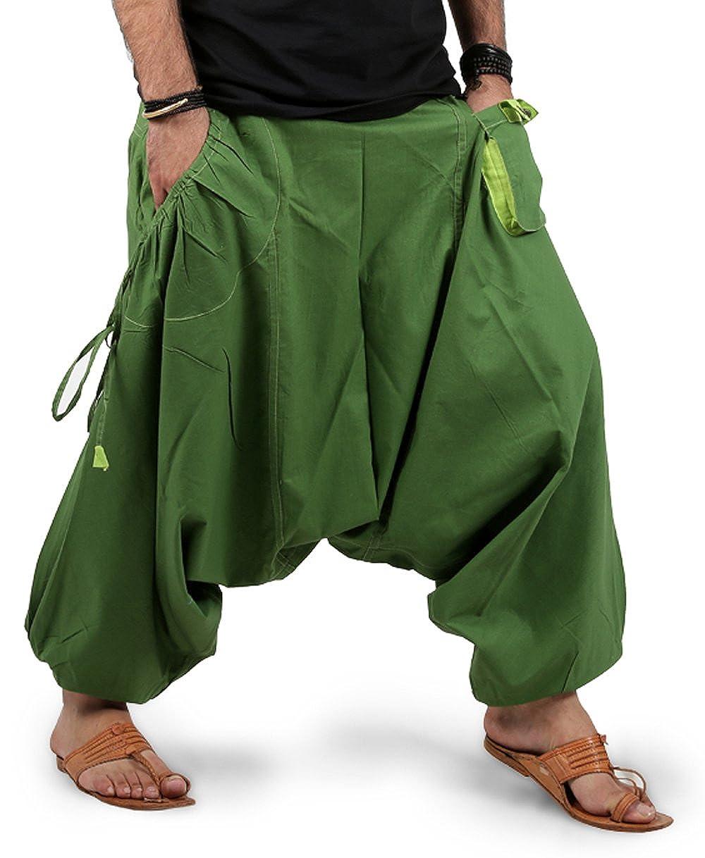 Mens Boys Boho Hippie Baggy Cotton Wide Leg Harem Pants Drop Pockets Style