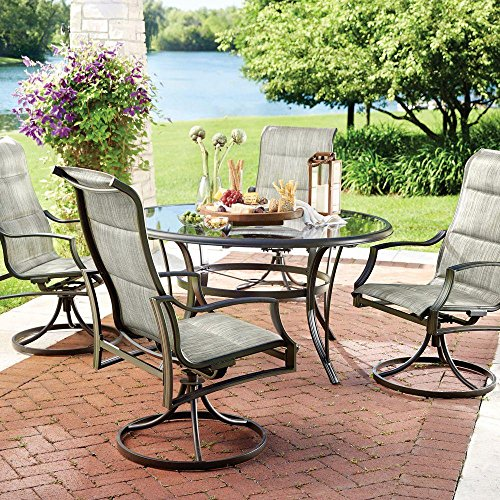 Oasis 5 Piece - Statesville 5-Piece Padded Sling Patio Dining Set with 53 in. Glass Top