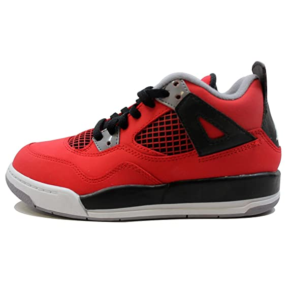 best sneakers d5713 c6afd Nike Pre-School Air Jordan IV 4 Retro Fire Red/White-Black-Cement Grey  308499-603 Shoe