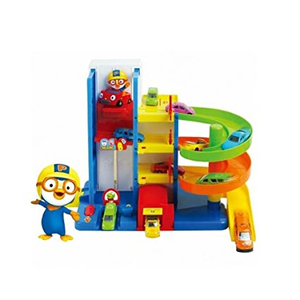 Amazon Com Pororo Parking Tower Car Toys With Elevator 3 Story