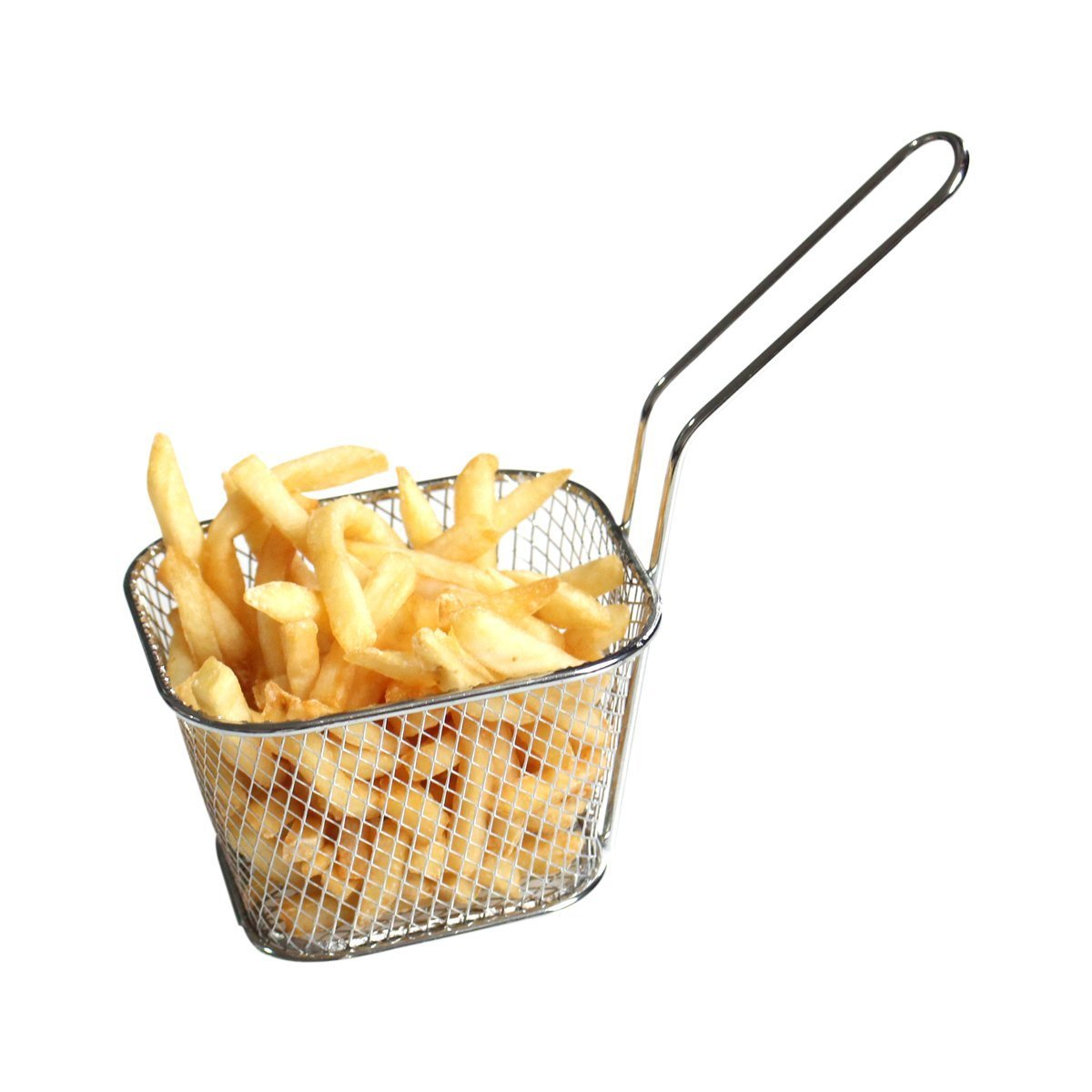 BYBYCD Stainless Steel Mini Fryer Basket Square French Fries Baskets Present Fried Chip Food Table Serving Mini Chip Baskets Serving Food Presentation Basket Kitchen (4 Pcs)