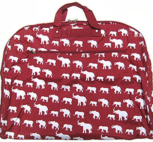 Elephant Print Garment Bag Travel Luggage Alabama Roll Tide Bama (Burgundy Red)