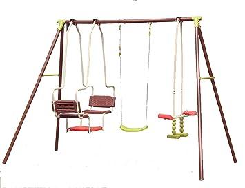 5c5bc41ab Juego de columpios infantiles para exteriores, incluye columpio tipo  góndola y balancín doble: Amazon.es: Jardín