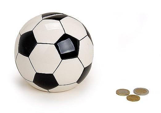 Hucha Balón de fútbol redondo de cerámica Ø 13 cm Grande Blanco y ...