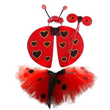 Amosfun 4 unids Ladybug Tutu Falda de Mariquita de Halloween Alas ...