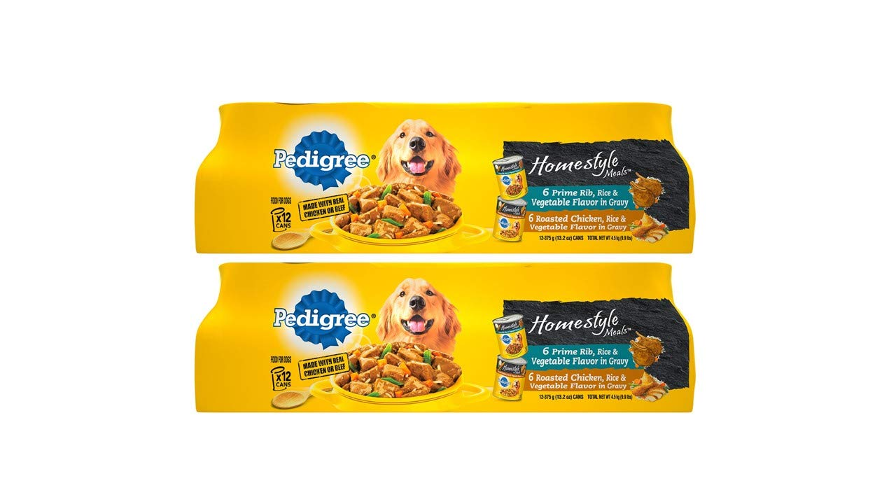 Pedigree Homestyle Meals Adult Canned Wet Dog Food Variety Pack, (24) 13.2 Oz. Cans by Pedigree