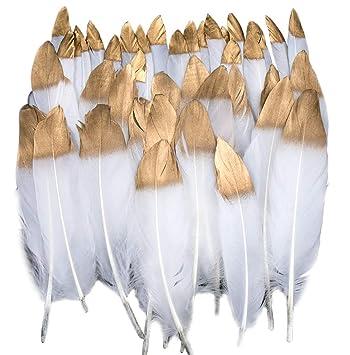 Plumas de Ganso, 40 pcs Oro Sumergido Blanco Natural Plumas de Gallo Manualidades Decoración para