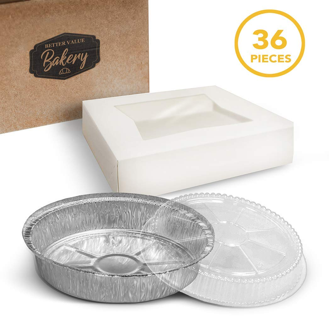 Pie Boxes with Aluminum Foil Pans and Lid 9'' x 9'' x 2.5'' Bakery Box with Window Lid and Disposable Pie Tins with Lids Bake and Package 12 Pies for Home Holiday or Restaurant Use (36 Piece Set) by Better Value Bakery