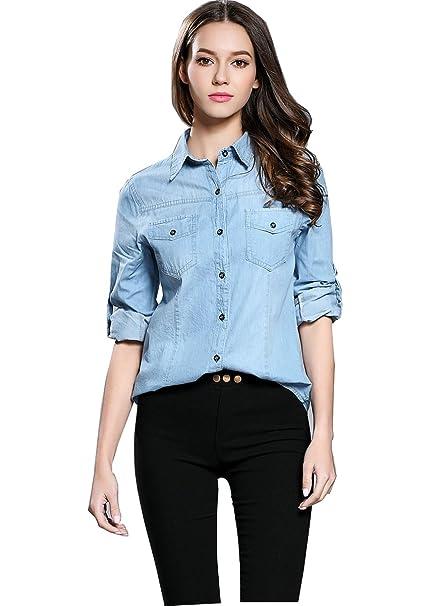 OKSakady Blusas Clásicas Clásicas para Mujeres, Blusa de Manga Larga con Cierre de Botón Camisa