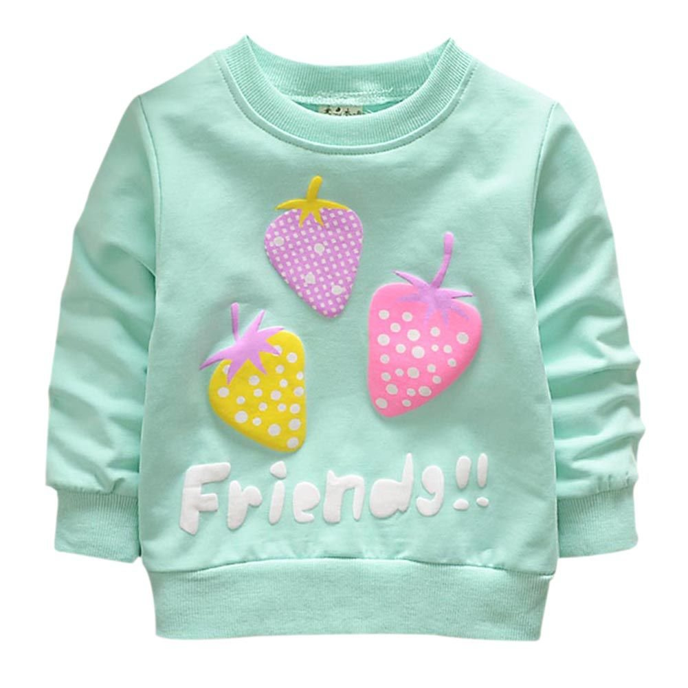 Brightup Baby Girl Sweet Candy Colors Sweatshirt Pullover, Long Sleeve T Shirt