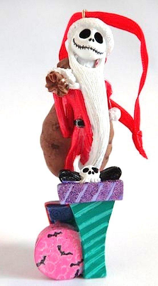 Disney Parks Nightmare Before Christmas Santa Jack Skellington Figurine Ornament 0000659246