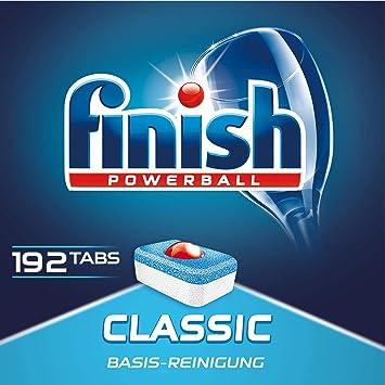 Finish Classic Tabs Pastillas para lavavajillas, 1 paquete de 192 ...