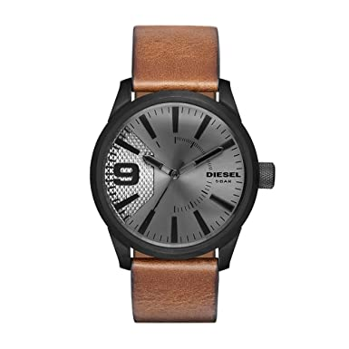 Diesel Men s Rasp Stainless Steel Analog-Quartz Watch with Leather-Calfskin Strap, Brown, 24 Model DZ1764