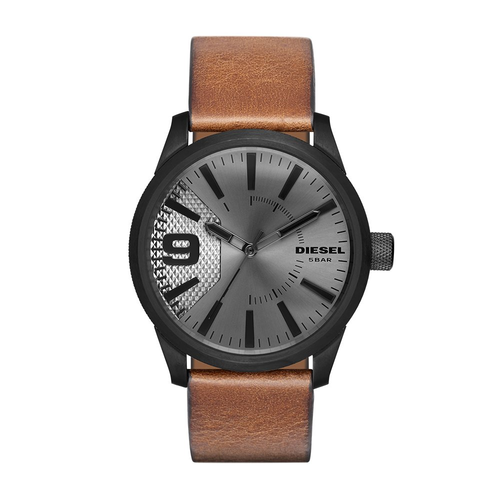 Diesel Men's 'RASP' Quartz Stainless Steel and Leather Casual Watch, Color:Brown (Model: DZ1764)