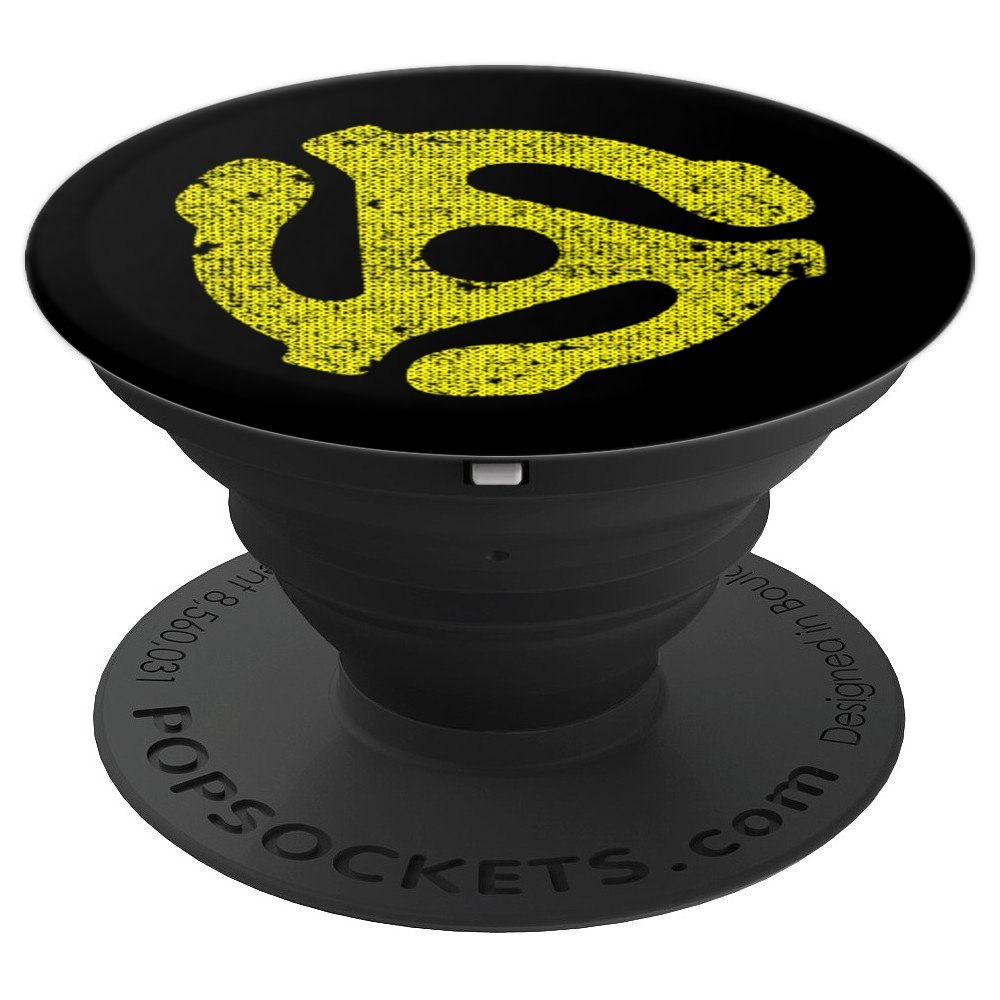 DJ 45 RPM Adapter Yellow Turntable Record Black Grunge - PopSockets Grip and Stand for Phones and Tablets