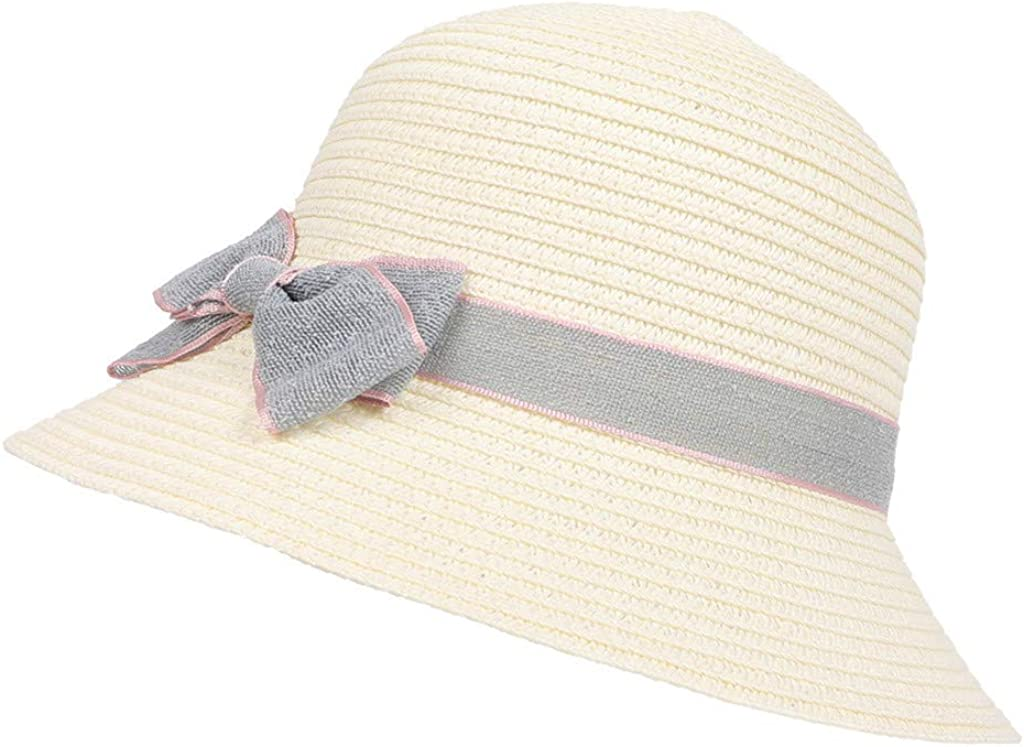 Golike Childrens Sun Hat Travel Beach Bow Basin Hat Straw Hat Sun Visor Cute Fisherman Hat 5-8 Years Old