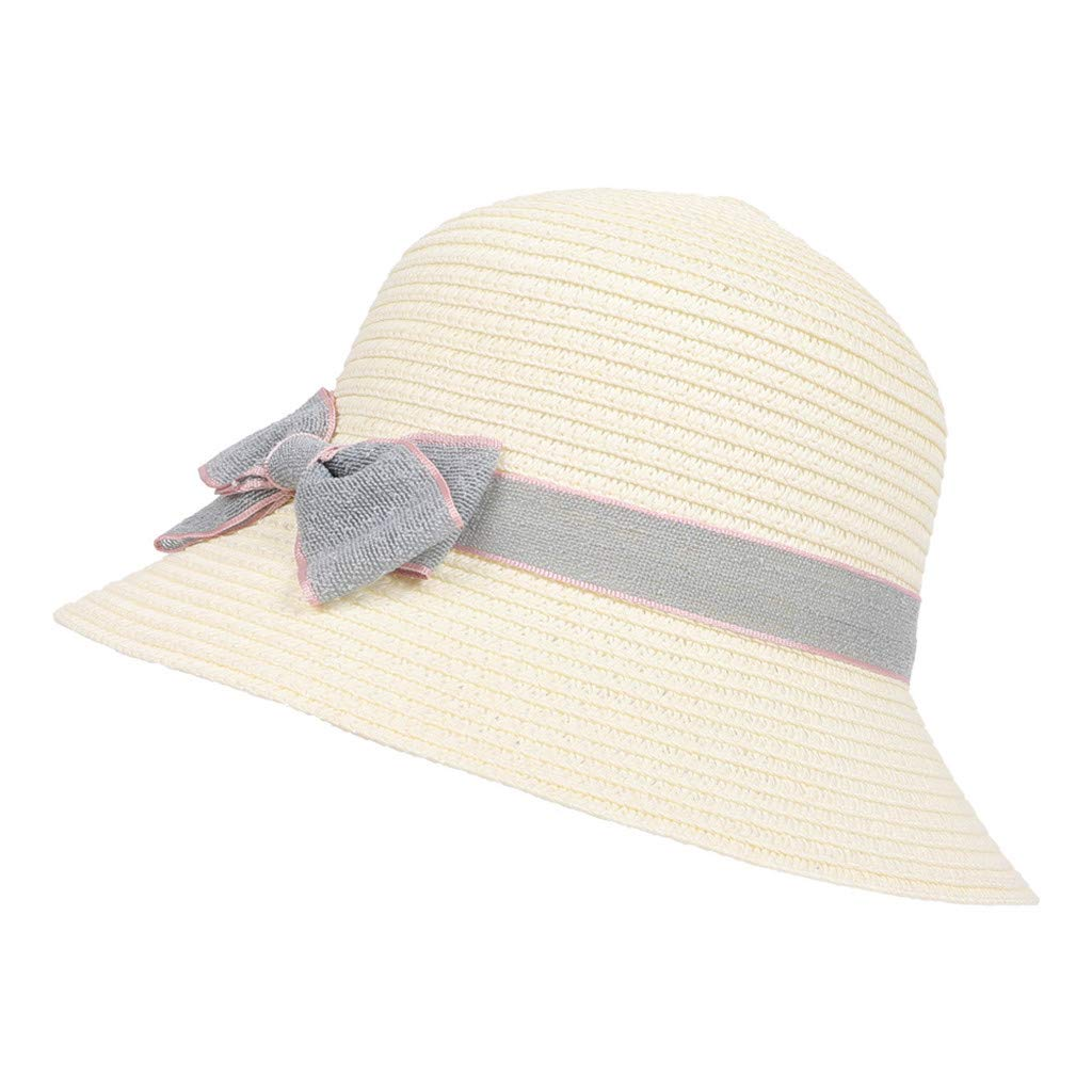 TANGSen 5-8 Years Old Children Bow Travel Bohemian Hats Straw Beach Sun Hat Basin Casual Fashion Cute Caps White