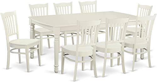 DOGR9-LWH-W 9 PC Kitchen nook Dining set for 8- Dining Table and 8 Dining Chairs