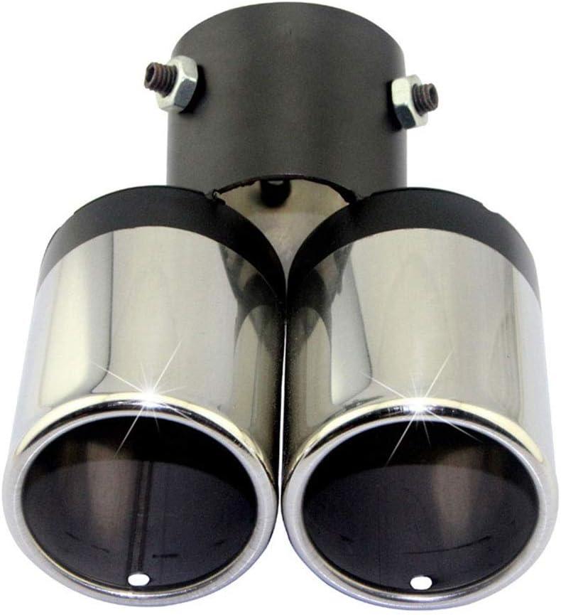 Asdomo Silencieux d/échappement de voiture rond courb/é en acier inoxydable Double tuyau chrom/é