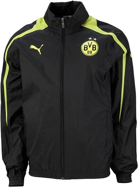 Puma Borussia Dortmund Pioggia Giacca con Cappuccio BVB 09 Rain Jacket Nero