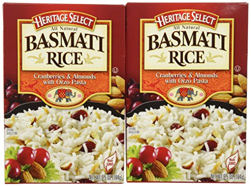 Heritage Select Basmati Rice, Cranberries & Almonds with Orzo Pasta, 6.5 Ounce (Pack of 6) by Heritage Products