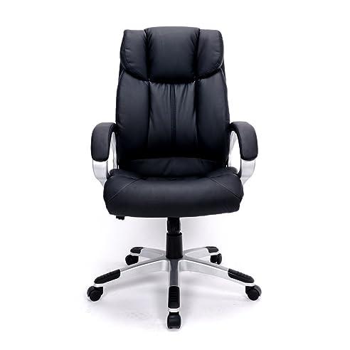 Ergonomischer bürostuhl  Ergonomischer Bürostuhl dick gepolstert, Kunstleder schwarz ...