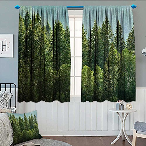 Nature Decor Home Decoration Thermal Insulated Forest Pine Tree Tops Refreshing Eco Woodland Wilderness Mountainside Landscape Blackout Draperies For Bedroom 72