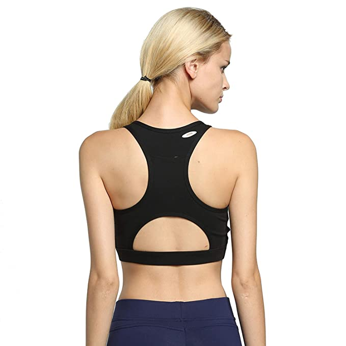 9553e16e66e Helisopus Womens High Impact Back Pocket Running Yoga Sport Bra Racerback  Activewear
