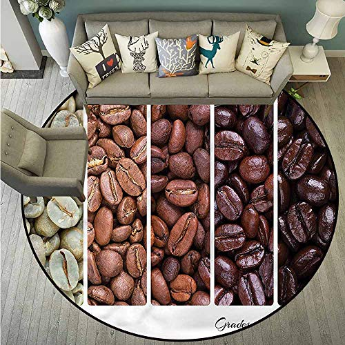 - Indoor/Outdoor Round Rugs,Coffee,Banner Stages of Beans,Super Absorbs Mud,3'3