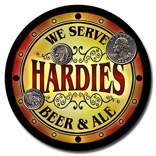 hardies-family-name-beer-and-ale-rubber-drink-coasters-set-of-4
