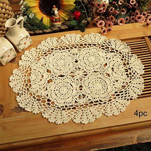 Phantomon Crochet Cotton Lace Placemats Doilies Crochet Doilies, Pack Of 4, Oval Shape, Beige, 12 x 17 inch, Sofa Cover Coasters, Cotton Placemats (Beige) ()